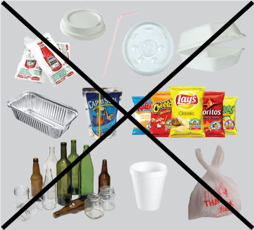 Picture of items not accepted for composting