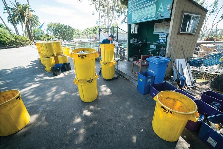 Yellow recycling bins